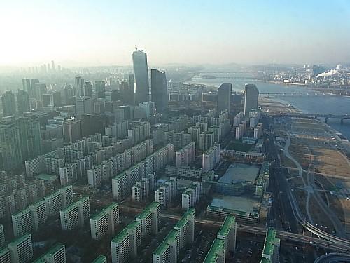 韓国高層ビルからの眺め