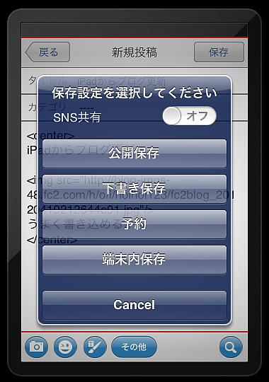 iPadブログ更新