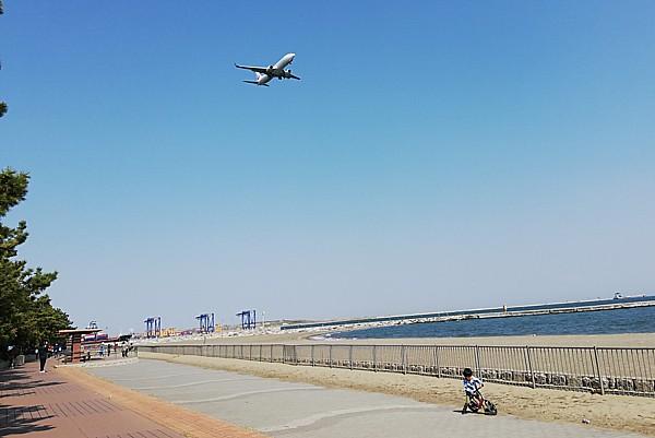 飛行機の着陸が近くで見られる